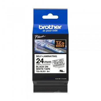 Brother TZe-SL251 Genuine Self Laminating Label, 24mm Black on White