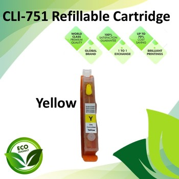 CLI-751 Yellow Color Compatible Refillable Ink Cartridges for Canon iP7270 / 8770 / MG5670 / 5570