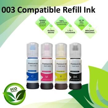 Compatible 003 Black/Cyan/Magenta/Yellow Refill Ink Bottle 70ML for Epson L3110 / L3150 / L1110 / L3100 / L3101
