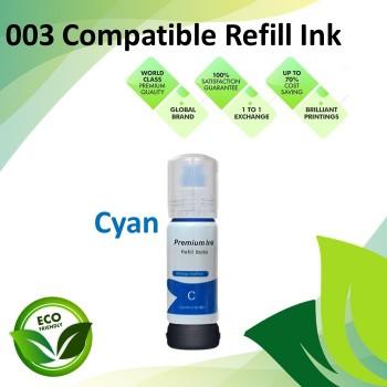 Compatible 003 Cyan Color Refill Ink Bottle 70ML for Epson L3110 / L3150 / L1110 / L3100 / L3101