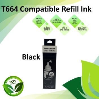 Compatible T664 Black Color Refill Ink Bottle 100ML for Epson EcoTank L130 / L110 / L100 / L220 / L200 / L310 / L300 Printer