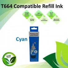 Compatible T664 Cyan Color Refill Ink Bottle 100ML for Epson EcoTank L130 / L110 / L100 / L220 / L200 / L310 / L300 Printer