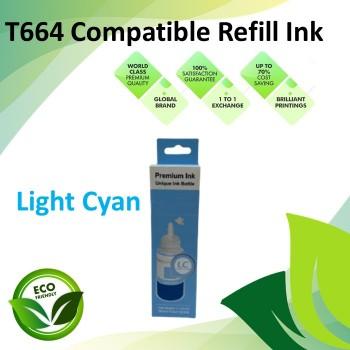 Compatible T664 Light Cyan Color Refill Ink Bottle 100ML for Epson EcoTank L130 / L110 / L100 / L220 / L200 / L310 / L300 Printer