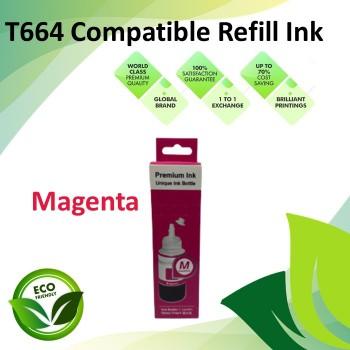 Compatible T664 Magenta Color Refill Ink Bottle 100ML for Epson EcoTank L130 / L110 / L100 / L220 / L200 / L310 / L300 Printer