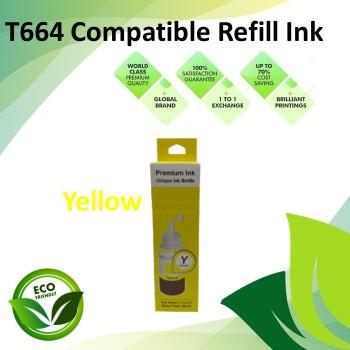 Compatible T664 Yellow Color Refill Ink Bottle 100ML for Epson EcoTank L130 / L110 / L100 / L220 / L200 / L310 / L300 Printer