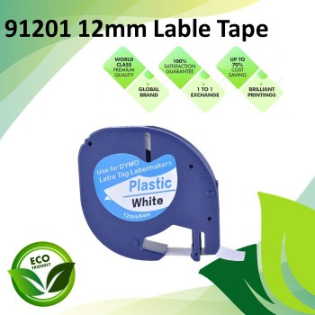Compatible 91201 12mm Black on White LetraTag Plastic Label Tape for Dymo LetraTag Label Maker