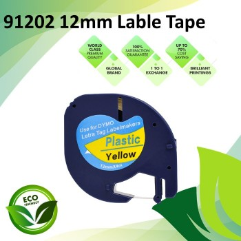 Compatible 91202 12mm Black on Yellow LetraTag Plastic Label Tape for Dymo LetraTag Label Maker