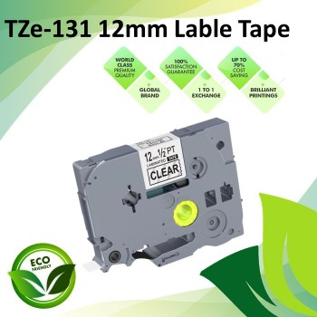 Compatible TZe-131 12mm Black on Clear Label P Touch Tape for Brother P-Touch Label Printers