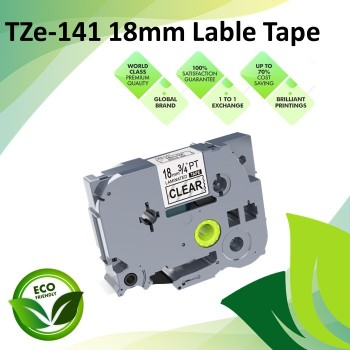 Compatible TZe-141 18mm Black on Clear Laminated Label P Touch Tape for all Brother P-touch Label Printers