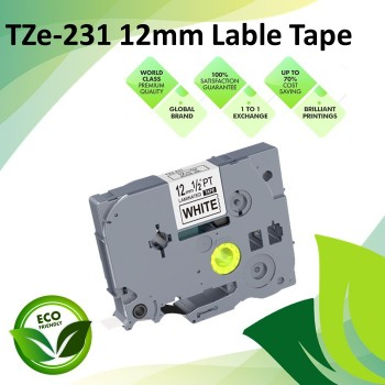 Compatible TZe-231 12mm Black on White Label P Touch Tape for Brother PT Series / GL-Series / ST-Series Label Printers