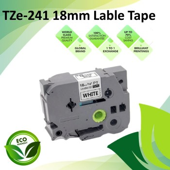 Compatible TZe-241 18mm Black on White Label P Touch Tape for Brother PT-Series Lable Printer