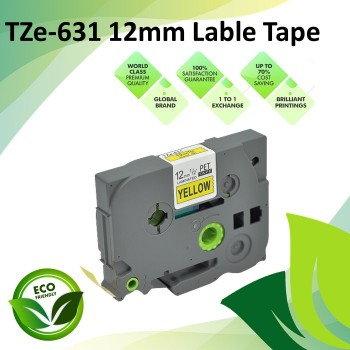 Compatible TZe-631 12mm Black on Yellow Label P Touch Tape for Brother PT Series / GL-Series / ST-Series Lable Printer