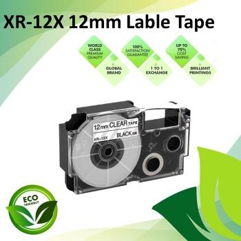 Compatible XR-12WE 12mm Black on White EZ-Label Maker Cartridge Tape for Casio Ez-Label Printer