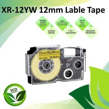 Compatible XR-12YW 12mm Black on Yellow EZ-Label Maker Cartridge Tape for Casio Ez-Label Printer
