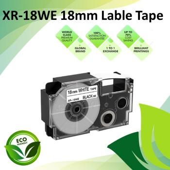 Compatible XR-18WE 18mm Black on White EZ-Label Maker Cartridge Tape for Casio Ez-Label Printer