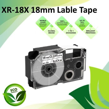 Compatible XR-18X 18mm Black on Clear EZ-Label Maker Cartridge Tape for Casio Ez-Label Printer