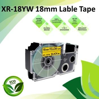 Compatible XR-18YW 18mm Black on Yellow EZ-Label Maker Cartridge Tape for Casio Ez-Label Printer