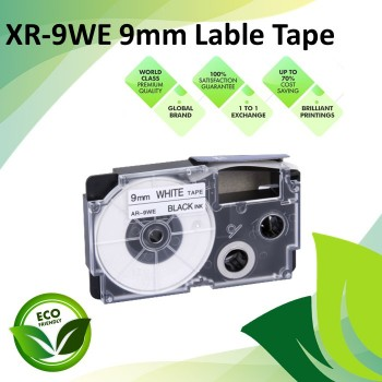 Compatible XR-9WE 9mm Black on White EZ-Label Maker Cartridge Tape for Casio Ez-Label Printer