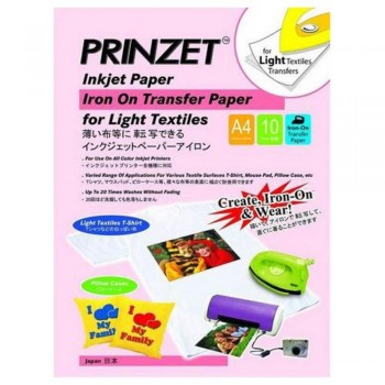 Prinzet Iron-On Transfer Paper - Light Textiles - A4 - 10 sheets per pack (iTEM nO: PRINZ IRON L A4) A1R4B169