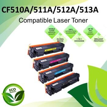 HP CF510A/511A/512A/513A Black/Cyan/Magenta/Yellow Compatible Laser Toner Cartridges